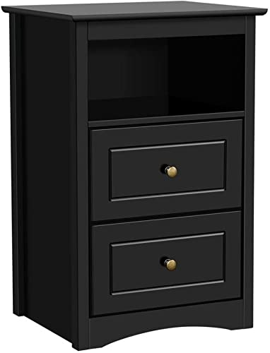 Yaheeetch Tall End Tables Bedside Nightstand with 2 Drawers and Open Shelf – Sofa Side Storage Table for Bedroom Black