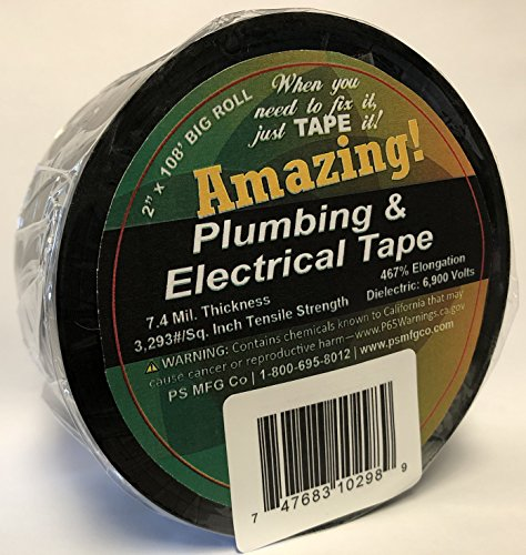 "Amazing Tape ATP24 Plumbing Black Plastic Electrical Tape 2"" x 108"