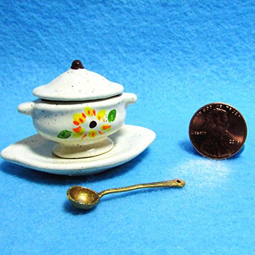 Dollhouse Miniature Tureen with Ladle in Sunflower Design Hand crafted K - My Mini Fairy Garden Dollhouse Accessories for Outdoor or House Decor