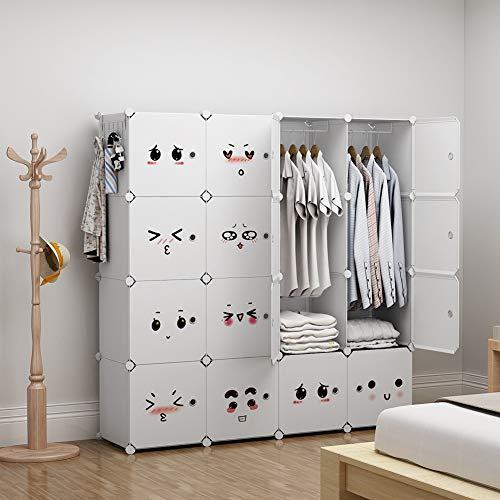 GEORGE&DANIS Portable Closet Organization for Kids Teens Plastic Modular Wardrobe Cube Storage Shelf Bookcase Bookshelf MultiFuncation Toy Organizer Cabinet Dresser, White, 2 Hangers & 10 Cubes