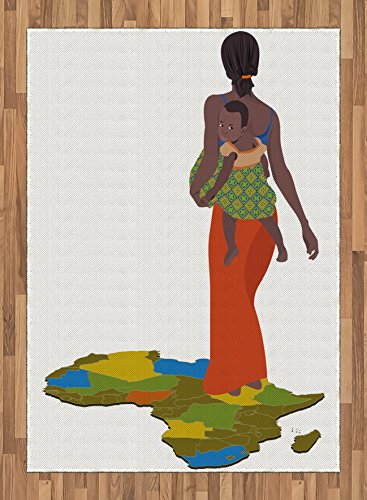 African Woman Area Rug by Ambesonne, Mother Carrying Baby Girl on Her Back Africa Country Culture Continent Map, Flat Woven Accent Rug for Living Room Bedroom Dining Room, 5.2 x 7.5 FT, Multicolor by Ambesonne
