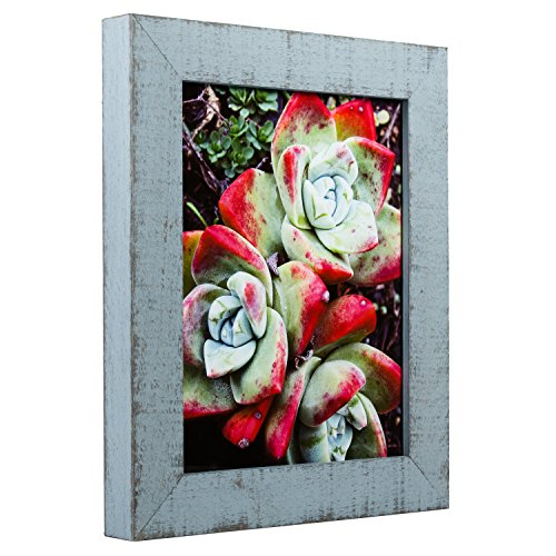 Craig Frames Lancashire, Light Blue Rustic Hardwood Picture Frame, 11 by - Blue Light Frame