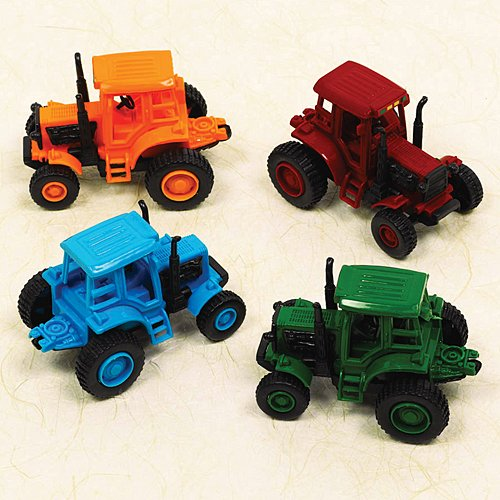 Fun-Filled Assorted Colors Pull-Back Farm Tractor Party Favour,