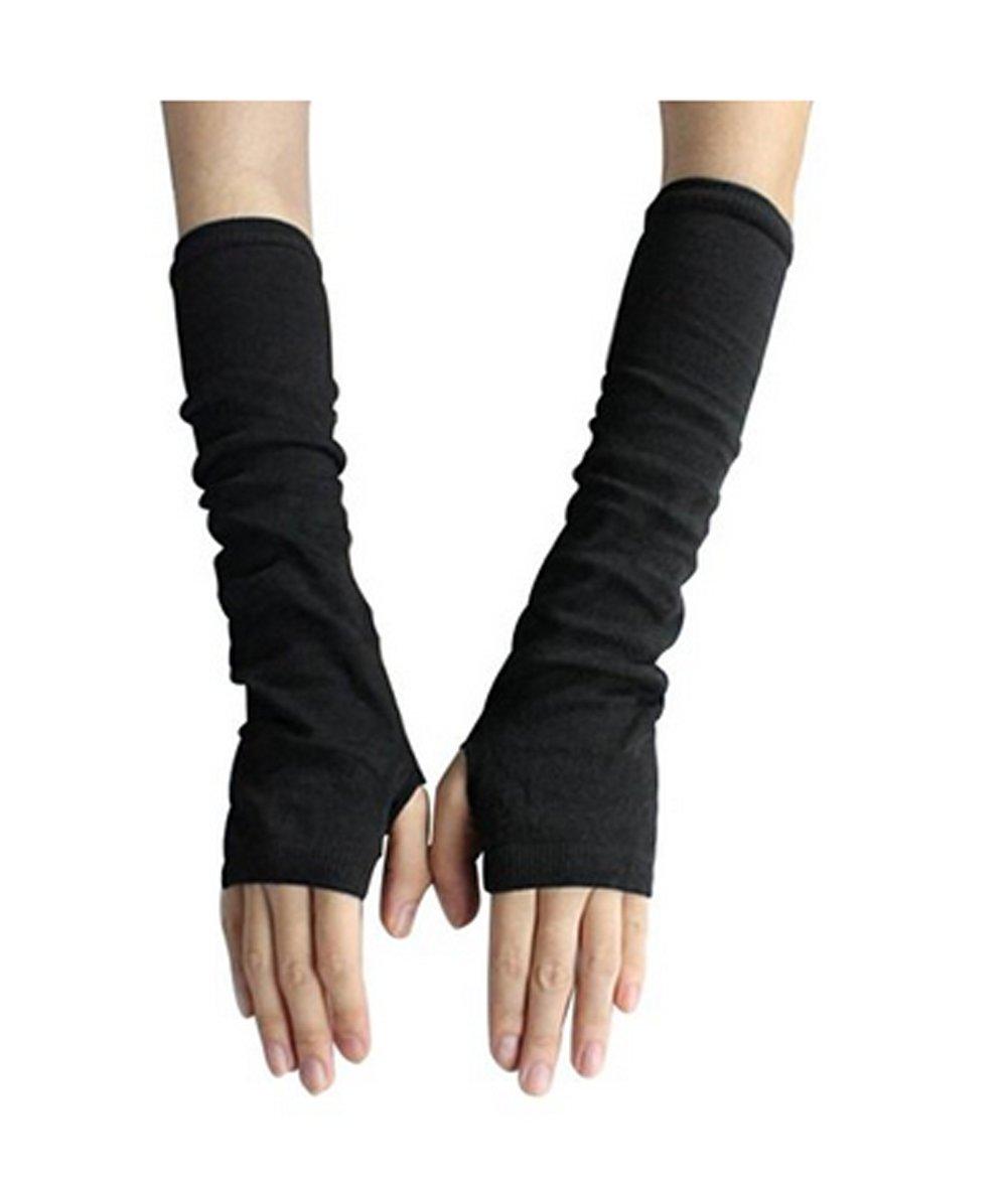 2pairs Women's Wool Knitted Long Fingerless Gloves Thin Arm Warmer Gloves Black erioctry