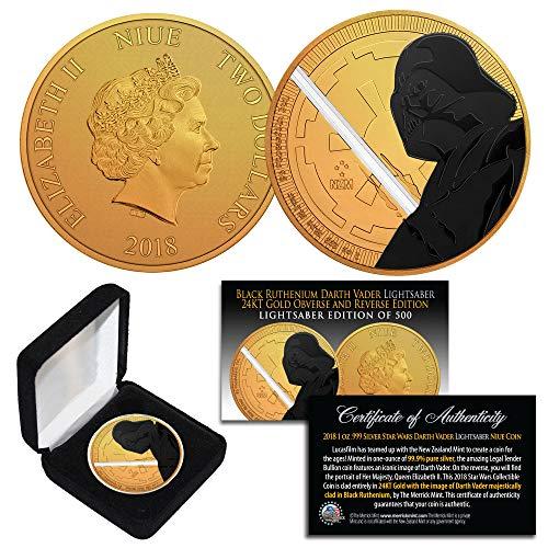 Silver BU Star Wars DARTH VADER LIGHTSABER EDITION Coin 24KT Gold Clad with BLACK RUTHENIUM VADER ()