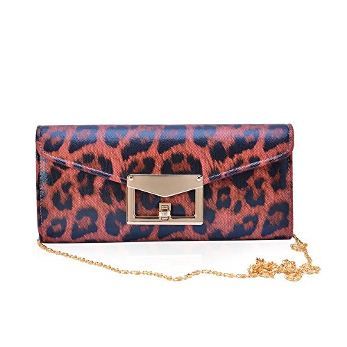 Colour Chain Red Cm 25x11 with Size and 5x5 Bag Strap Pattern Clutch Leopard Satin Black wBEBqxU
