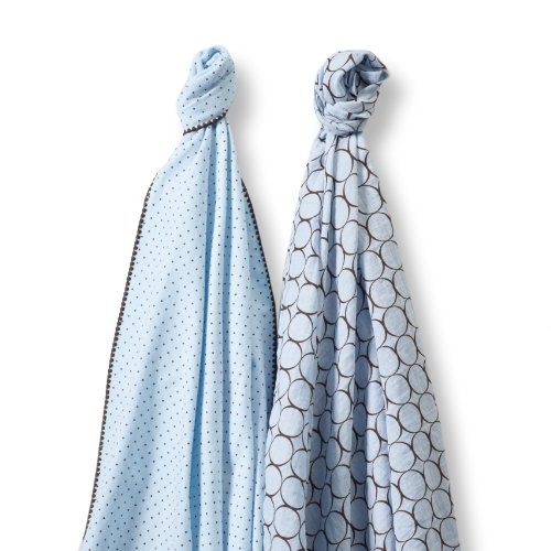 SwaddleDesigns SwaddleDuo, Set of 2 Swaddling Blankets, Cotton Muslin + Premium Cotton Flannel, Pastel Blue Modern Duo Count Flannel Receiving Blankets