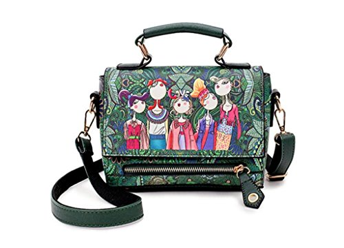 NVBAO Borsa femminile Borsa singola di scuola di shopping del cuoio dell'unità di elaborazione del vento di stampa del sacchetto della spalla del singolo, green green