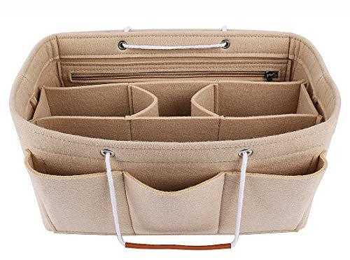 ABRONDA [Upgrade]Purse Organizer Insert, Felt Bag organizer with zipper, Handbag & Tote, Beige- Large