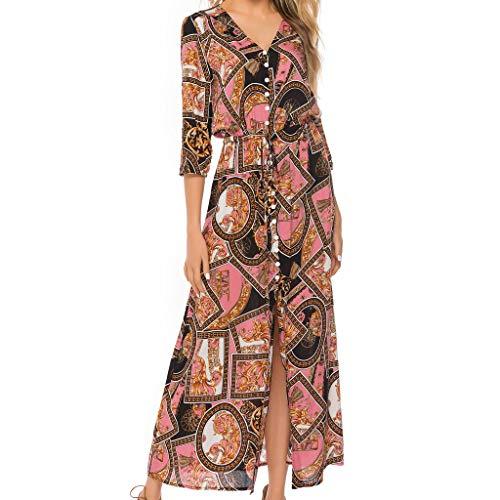 Toponly Women Summer Boho Floral Long Sleeves Maxi Long Dress Spliced Beach Party Sunscreen Sundress