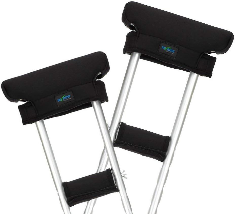 Muletas Almohadillas Cubiertas Adultos Mangos Almohadillas Bajo las axilas Almohadillas Acolchadas Accesorios Armpits & Grips Asas Cojines Ortopédicos Reemplazo de muletas (Negro, 2 juegos)