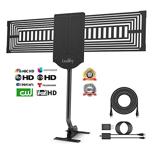 (Limited 50% off Promotion,Enter code 3FPVZ5TI) LeadTry Outdoor HD Digital TV Antenna 150+ Mile Reception Range with a Signal Booster, Attic/Roof TV Receiver for FM/VHF/ UHF 33Ft Coaxial Cable