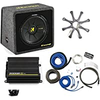 Kicker Bass package - 12 CompS in ported box with CX300.1 amplifier, wiring kit, grille, and bass knob.