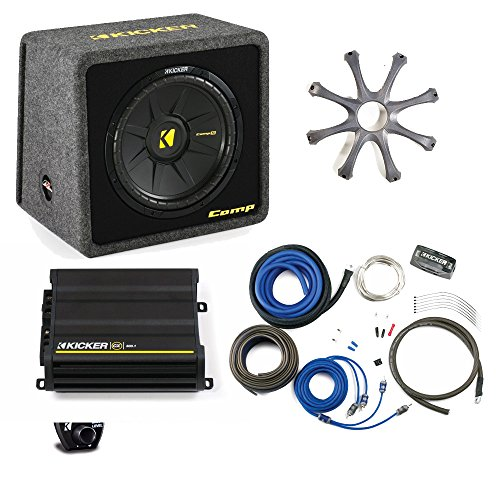 "Kicker Bass package - 12"" CompS in ported box with CX300.1 amplifier, wiring kit, grille, and bass knob."