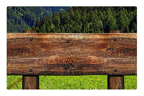 Tree26 Indoor Floor Rug/Mat (23.6 x 15.7 Inch) - Directory Signposts Wood Grain Board Shield -
