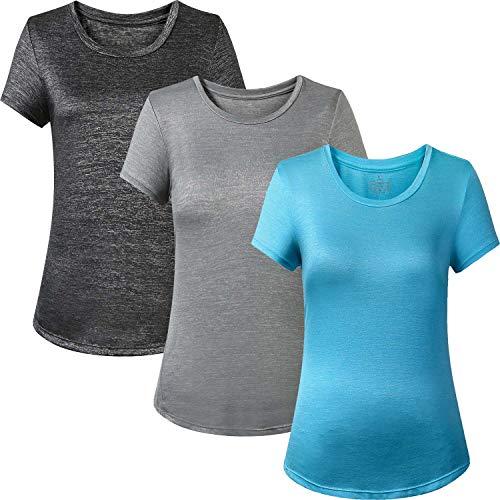 (YOGAFEEL Women's Gym Running Shirts Crewneck Tops Short Sleeve Yoga T-Shirts Cool Blouses 3-Pack Dark Grey/Light Grey/Navy Blue XSmall)
