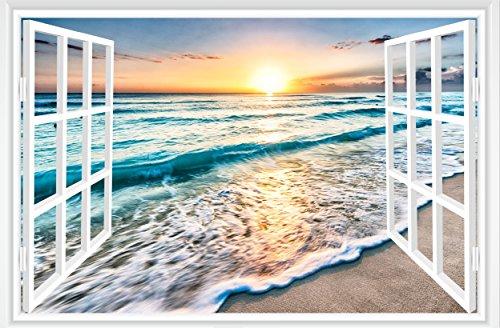 - FLFK 3D Fake Window Sunrise Ocean Beach Wall Sticker Vinyl Mural Decal Wallpaper (GXL455)