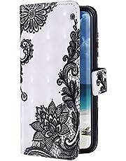 Uposao Funda Compatible con Samsung Galaxy M10 Funda Carcasa Piel Cartera Libro Dibujo 3D Pintado Diseño Glitter Brillante PU Leather Wallet Case para Samsung Galaxy M10,Encaje Flores