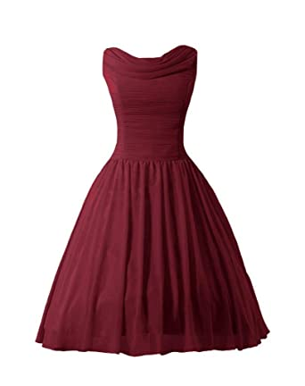 DaisyFormals Tea Length Bridesmaid Dress Vintage Party Dress Prom Dress(BM1639)- Dark Scarlet