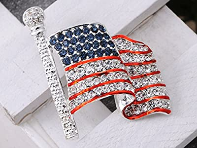 Alilang Silvery Tone Crystal Rhinestone USA Flag Brooch Pin - July 4th Patriotic American Costume Jewelry