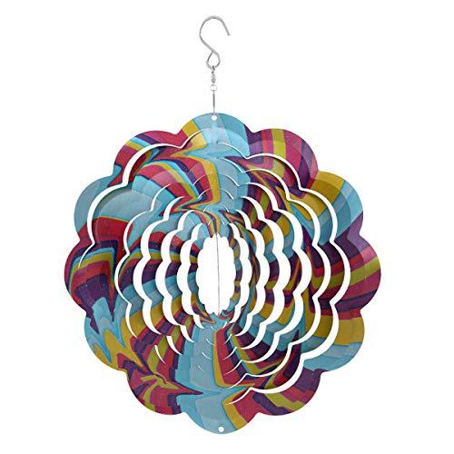 Topadorn Metal Wind Spectrum Spinner Hanging Décor for Yard Patio Garden, Rainbow