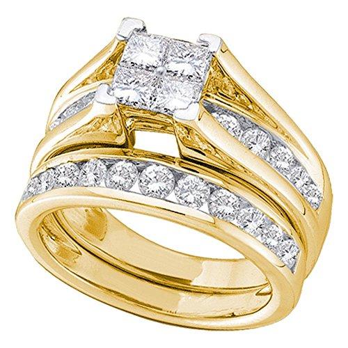 Princess Diamond Cluster Engagement Ring Wedding Band Set 10k Yellow Gold Bridal Set Round Stones 1/2 ctw (Diamond Invisible Bridal Set)