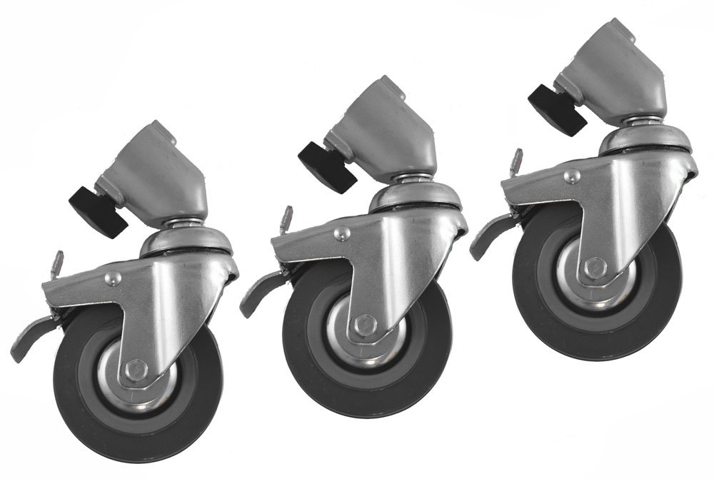 Polaroid Pro Studio 3 Professional Caster Wheels for Light Stands with 22mm Tubular Leg Ends