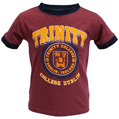 Burgundy Marl and Navy Trinity College Dublin Ireland Seal Kids Ringer T-Shirt (Burgundy, 3-4 Years)