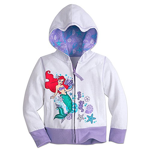 Screen Print Full Zip Sweatshirt (Disney Ariel Zip Hoodie for Girls Size 5/6 Purple)