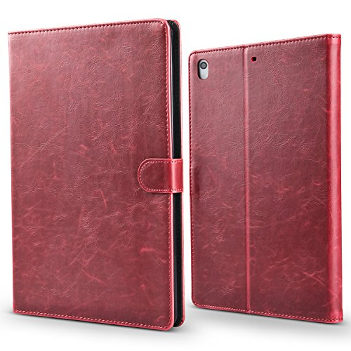 iPad Pro 12.9 inch 3rd Gen 2018 Case, AOKE Premium PU Leather Slim Folio Case for iPad Pro 12.9, Support 2nd Gen Apple Pencil Charging,Auto Sleep Wake, Multi Angle Stand Magnetic Closure,Wine Red