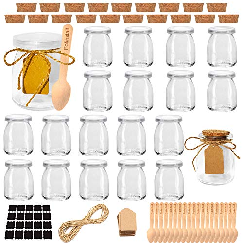 Folinstall 20 Pcs 7 oz Glass Jars with Lids - Yogurt Container - Spice Jars for Jam, Honey, Spices. Extra 20 Cork Lids, Chalkboard Labels, Tag Strings and 20 Wooden Spoons Included