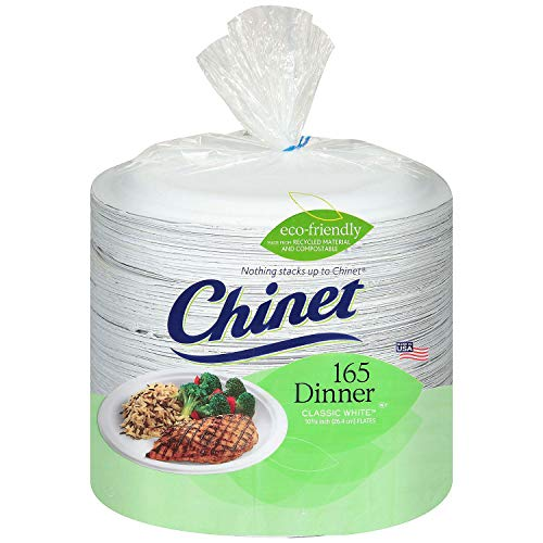 - Chinet Classic White Dinner Plates (10.375-Inch), 15-Count Plates (Pack of 12)