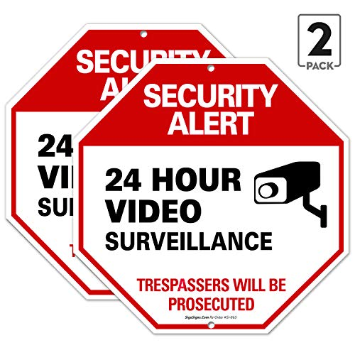 (2 Pack) Video Surveillance Sign, No Trespassing Sign, 12x12 Octagon Shaped Rust Free Aluminum, UV Printed, Easy to Mount Weather Resistant Long Lasting Ink Made in USA by SIGO SIGNS (Aluminum Rust And)