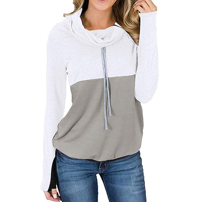 Sylar Sudaderas Deportivas Mujer Invierno Cuello Redondo Manga Larga Color De Contraste Caliente Moda Simple Jersey Grueso Abrigo Pullover Outwear: ...