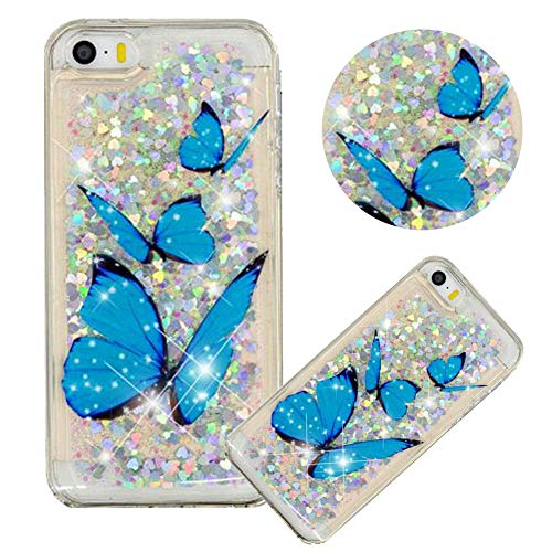 Glitter Painting Quicksand Case for iPhone SE,Soft Clear TPU Case for iPhone 5/5S,Moiky Creative Blue Butterfly Pattern Painted Liquid Sparkly Quicksand Crystal Transparent Protective Case