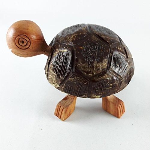 Thai Coconut Shell and Wooden Turtles Figurine Funny Craft Bobble Head Moving Home De'cor Collectible