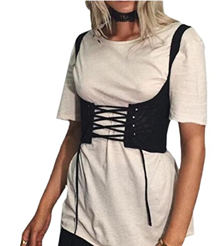 一握りページェント住所Fly Year-JP 女性のファッションのベストのレースアップウエストノースリーブセクシーチョッキ