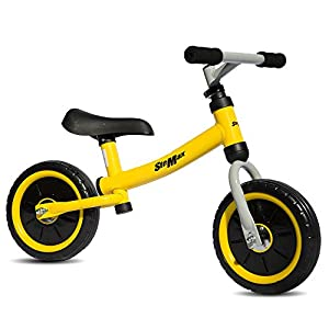 "10"" Balance Bike , No Pedal Sport Bicycle Adjustable Handlebar and Seat, Perfect for Children, Toddler Ages 2 to 4 Years Old, 55 lbs Capacity (Yellow)"