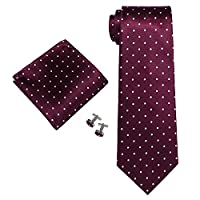 Landisun SILK Various Polka Dots Mens SILK Tie Set: Tie+Hanky+Cufflinks