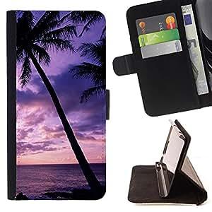 Devil Case- Estilo PU billetera de cuero del soporte del tir¨®n [solapa de cierre] Cubierta FOR Apple iPhone 6 6S 4.7 - Hawaii Palm Trees Beach
