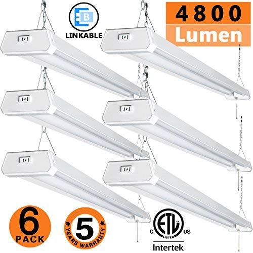 LED Shop Light for garages,4FTLED Wraparound Light,led Ceiling Light,42W 4800LM 5000K Daylight White, with Pull Chain (ON/Off),Linear Worklight Fixture with Plug, cETLus Listed 6 Pack 50K