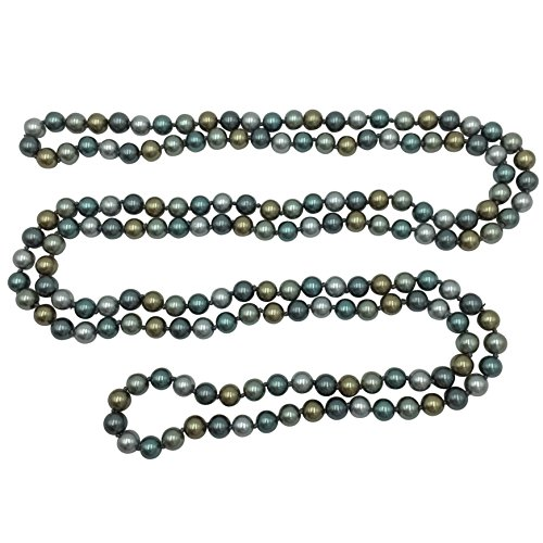 - Long Imitation Pearl Multi Color Glass Bead Necklace - Assorted Colors (Grey Tones with Brown)