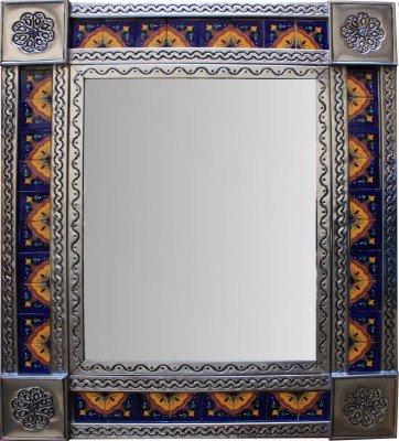 Medium Brown Concha Tile Mexican Mirror (Flower Tin Mirror)
