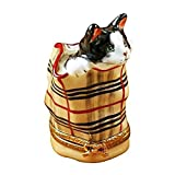 CAT IN BURBERRY BAG - LIMOGES PORCELAIN FIGURINE BOXES AUTHENTIC IMPORTS