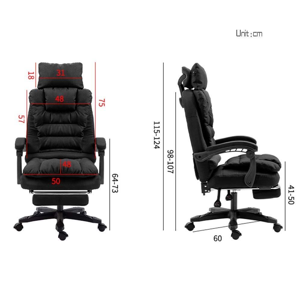 JIEER-C stol hög rygg stor storlek tyg spelstol med fotstöd verkställande och ergonomisk svängbar stol dubbelbärande kapacitet: 150 kg, brun svart