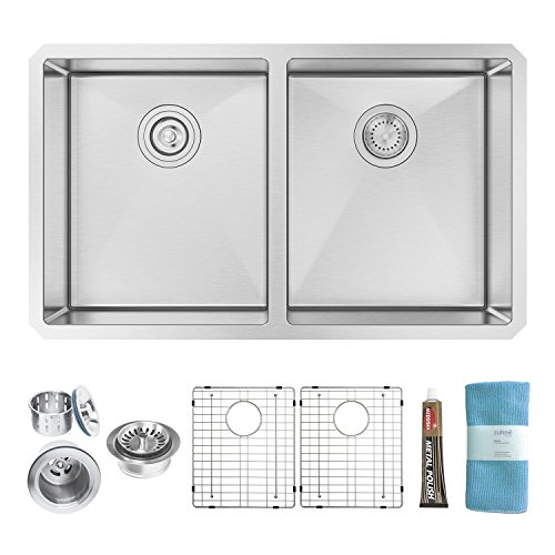 Zuhne 32 Inch Undermount 50/50 Deep Double Bowl 16 Gauge Stainless Steel Modern Kitchen Sink…