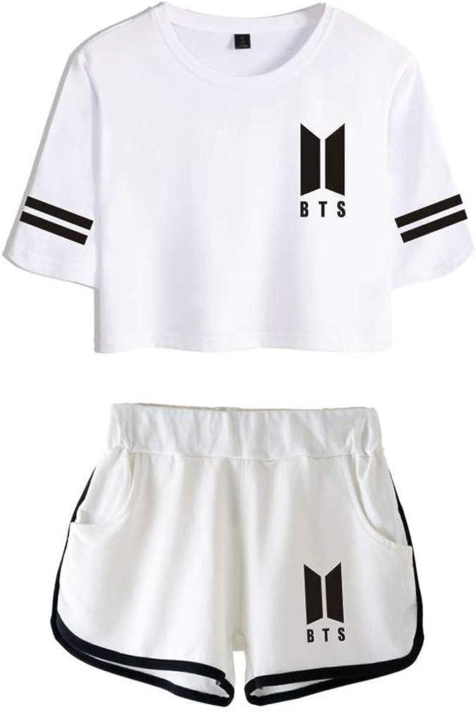 Leslady Tute Ginnastica Sportive con Stampa di BTS Fans KPOP Maglietta Manica Corte T-Shirt Crop Top e Pantaloncini
