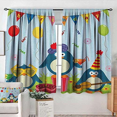 (Living Room Curtains Kids Birthday,Cartoon Style Penguin Party with Flags Cakes and Surprise Box, Pale Blue and Fern Green,Darkening and Thermal Insulating Drapes 52