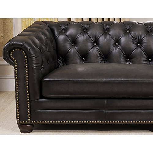 mondo premium top grain grey tufted leather 100 inch sectional sofa best sofas. Black Bedroom Furniture Sets. Home Design Ideas
