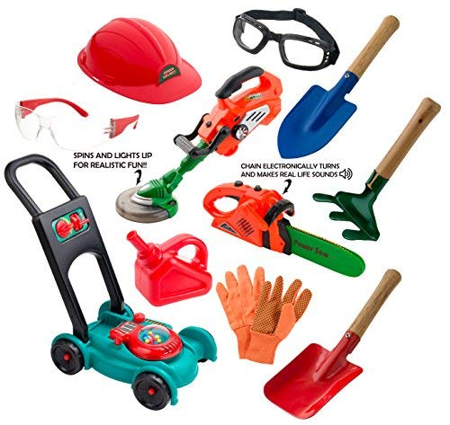 sunfun Children's Complete Landscaping Set with Push Lawnmower, Power Saw, Weed Trimmer, Gardening Tools, Goggles & Gloves :: Realistic Outdoor Backyard Toys for Boys & Girls ()